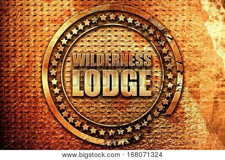 wilderness lodge, 3D rendering, grunge metal stamp