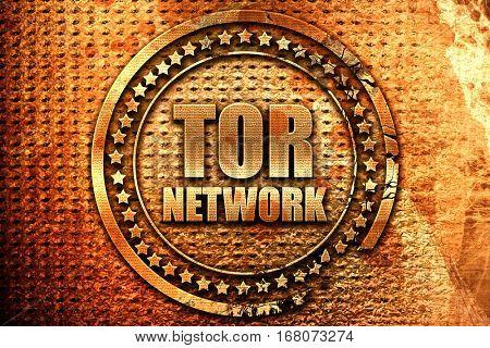tor network, 3D rendering, grunge metal stamp
