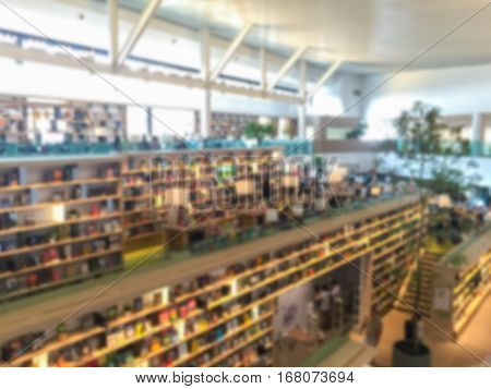 Blur image background of a bookstore .