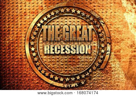 Recession sign background, 3D rendering, grunge metal stamp