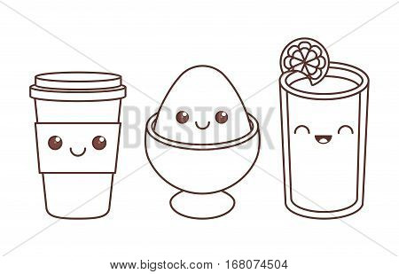 disposable coffee cup boiled egg and juice kawaii icon image black line  vector illustration design