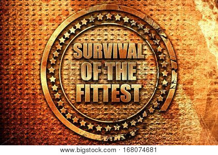 survival of the fittest, 3D rendering, grunge metal stamp