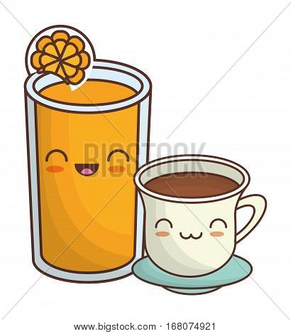 coffee cup and orange juice  kawaii icon image vector illustration design