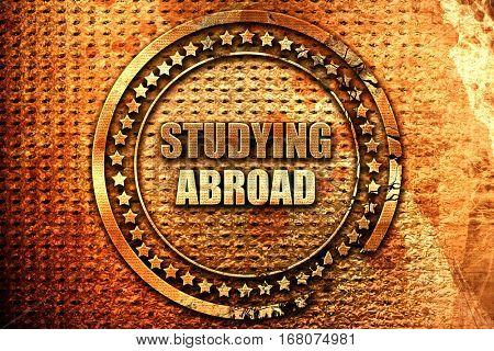 studying abroad, 3D rendering, grunge metal stamp