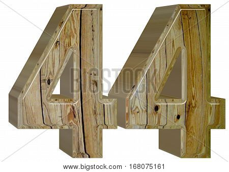 Numeral 44, Forty Four, Isolated On White Background, 3D Render