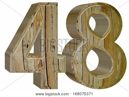 Numeral 48, Forty Eight, Isolated On White Background, 3D Render