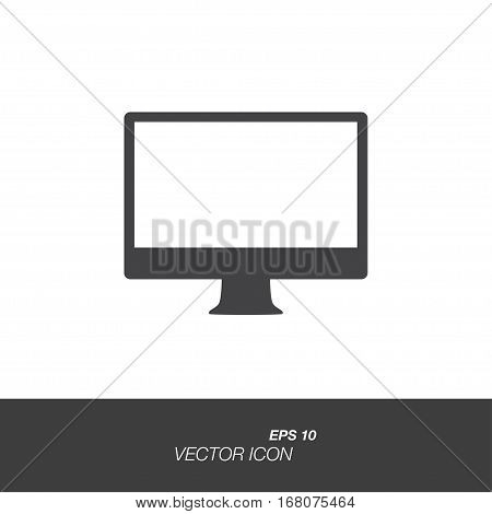 Monitor icon in flat style isolated on white background. Monitor symbol for your design and logo. Vector illustration EPS 10.