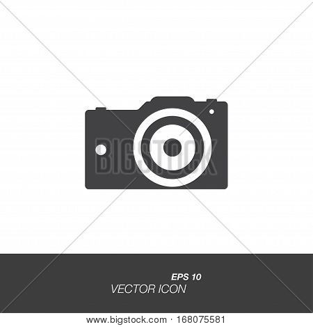 Photo Camera in flat style isolated on white background. Photo Camera symbol for your design and logo. Vector illustration EPS 10.
