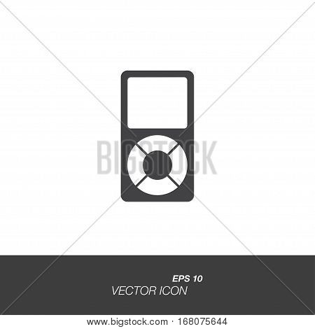 Music player icon in flat style isolated on white background. Music player symbol for your design and logo. Vector illustration EPS 10.