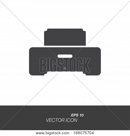 Printer icon in flat style isolated on white background. Printer symbol for your design and logo. Vector illustration EPS 10.