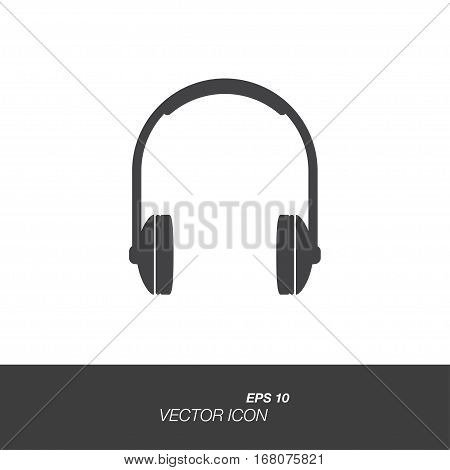 Headphones icon in flat style isolated on white background. Headphones symbol for your design and logo. Vector illustration EPS 10.