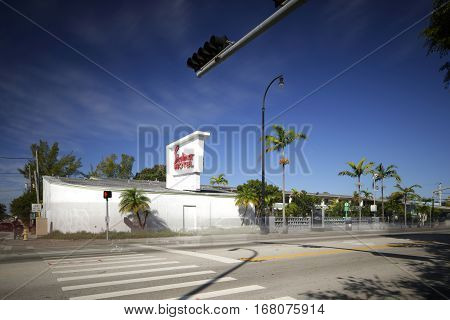 MIAMI - FEBRUARY 1 2017: Long exposure photo of the Shalimar Motel located at 6200 Biscayne Boulevard in the MiMi district.