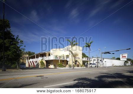 MIAMI - FEBRUARY 1 2017: Long exposure photo of the Sinbad Motel located at 6150 Biscayne Boulevard in the MiMo district.