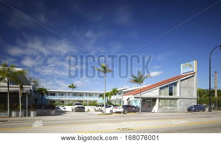 MIAMI - FEBRUARY 1 2017: Long exposure photo of the Biscayne Inn Motel located at 6730 Biscayne Blvd.