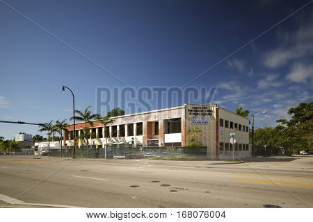 MIAMI - FEBRUARY 1 2017: Stock photo of a commercial building under demolition and reconstruction located at Biscayne Boulevard and 67th Street.