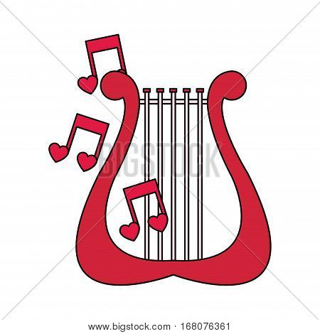 lyre instrument with musical notes over white background. colorful design. vector illustration