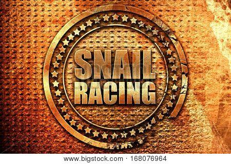 snail racing, 3D rendering, grunge metal stamp