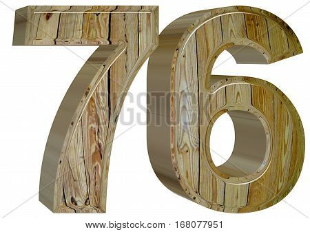 Numeral 76, Seventy Six,, Isolated On White Background, 3D Rende