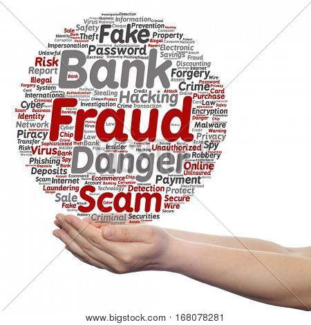 Concept or conceptual bank fraud payment scam danger circle word cloud in hand isolated on background metaphor to password hacking, virus fake authentication crime, illegal transaction identity theft