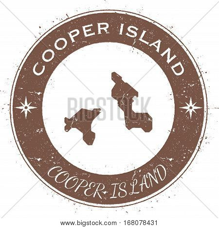 Cooper Island Circular Patriotic Badge. Grunge Rubber Stamp With Island Flag, Map And Name Written A