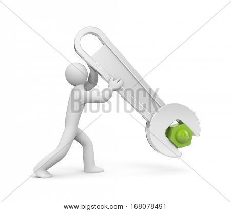 3d man with metal spanner twists or untwists the nut. People at work. Isolated on white. 3d illustration