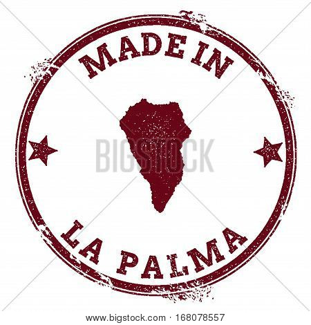 La Palma Seal. Vintage Island Map Sticker. Grunge Rubber Stamp With Made In Text And Map Outline, Ve
