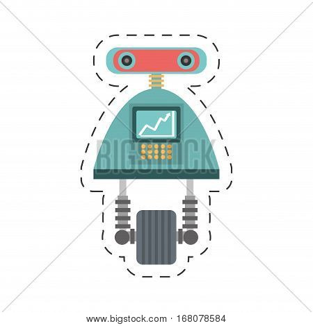 robot android automation icon cutting line vector illustration eps 10
