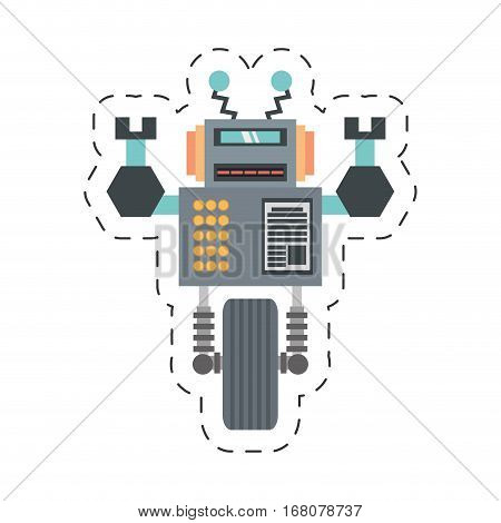 robotic future technology with wheel up amrs cutting line vector illustration eps 10