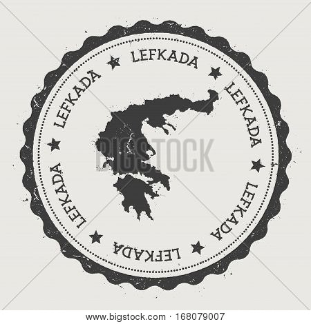 Lefkada Sticker. Hipster Round Rubber Stamp With Island Map. Vintage Passport Sign With Circular Tex