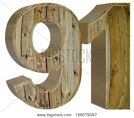 Numeral 91, Ninety One, Isolated On White Background, 3D Render