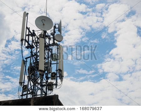 The cellular tower with white and blue sky background