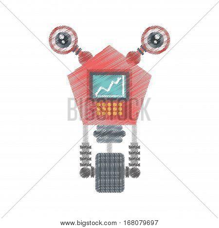 drawing robot eletronic mechanical modern vector illustration eps 10