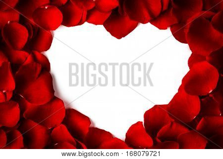 Heart shape frame made of rose petals, white isolated copy space