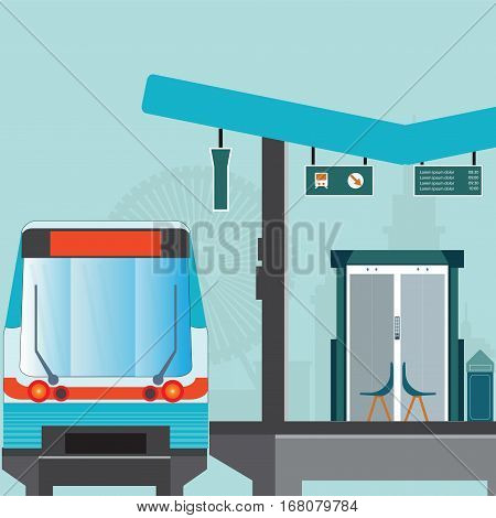 Front view of Train station platform of subway or sky train business travel transportation vector illustration.