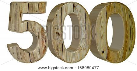 Numeral 500, Five Hundred, Isolated On White Background, 3D Rend