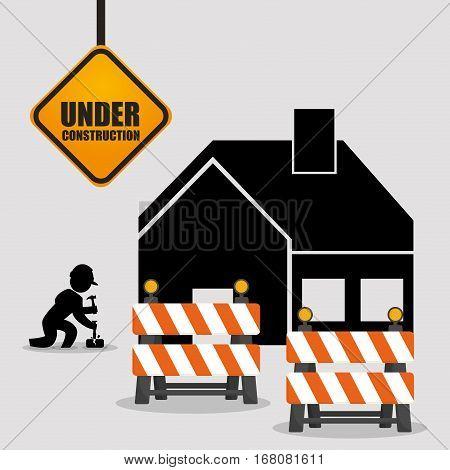 under construction worker barrier road house vector illustration eps 10