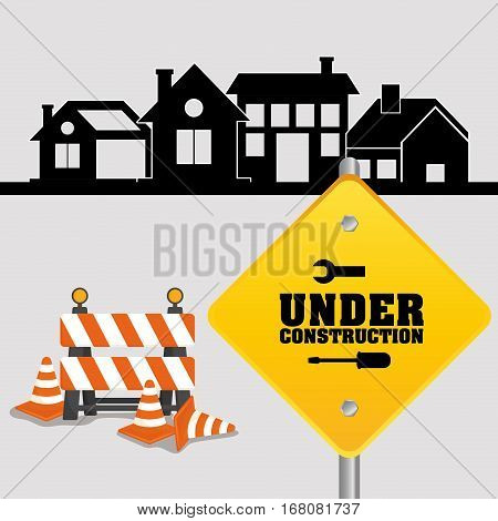 under construction sign with cone barrier traffic and houses vector illustration eps 10