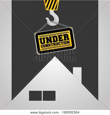 real state house under construction sign hanging vector illustration eps 10