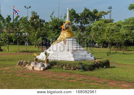 Dan Chedi Sam Ong or Three Pagodas Pass is a border pass to the Union of Myanmar at Sanghklaburi province Thailand