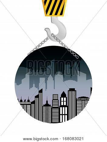 building construction crane hanging badge vector illustration eps 10
