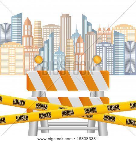 barrier road tape under construction cityscape background vector illustration eps 10