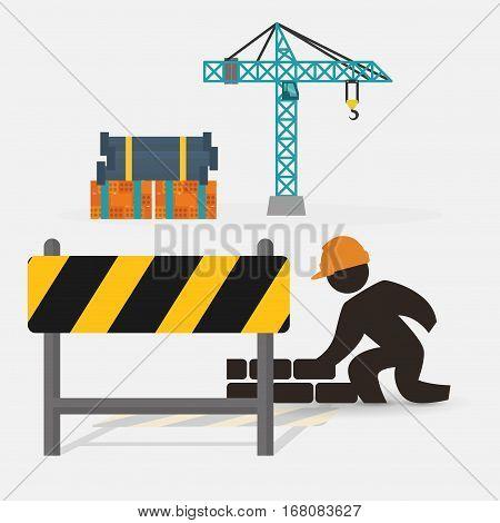 worker construction brick wall barrier crane vector illustration eps 10