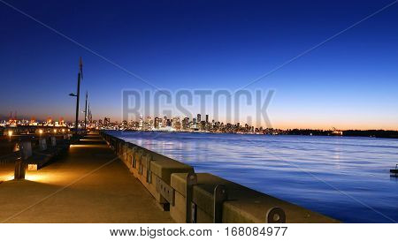 North Vancouver Pier At Sunset, Downtown Vancouver Skyline in Background