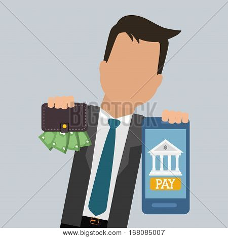 businessman smartphone wallet money pay digital vector illustration eps 10