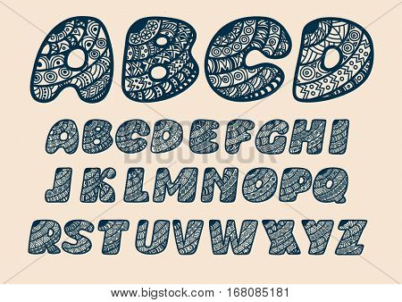 Alphabet cut out of paper. Vector illustration.