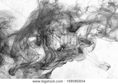 Abstract smoke Weipa. Personal vaporizers fragrant steam. The concept of alternative non-nicotine smoking. Black smoke on a white background. E-cigarette.