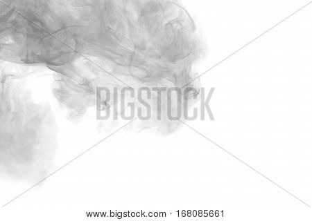 Abstract smoke Weipa. Personal vaporizers fragrant steam. The concept of alternative non-nicotine smoking. Gray smoke vape on a white background. E-cigarette. Evaporator.