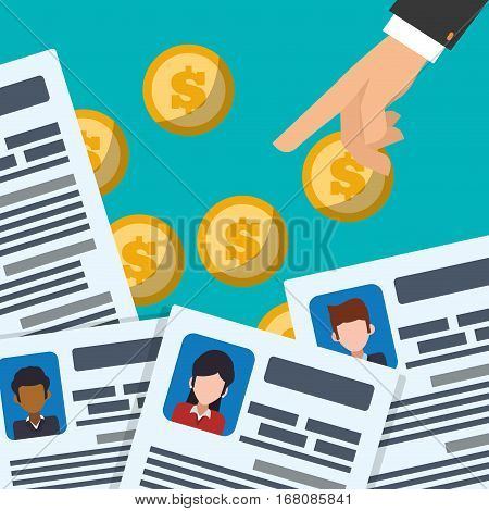 hand resource profile document coins vector illustration eps 10