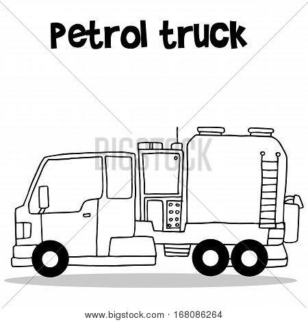Hand draw of petrol truck transportation vector art