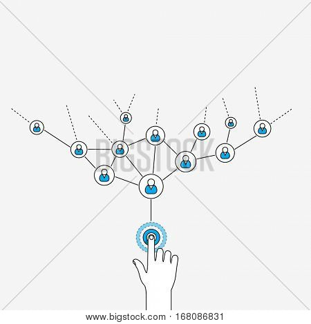 Sharing with one tap infographics. Social network illustration in linear style.